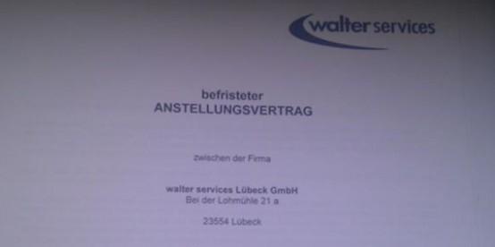 Deckblatt Vertrag walter services