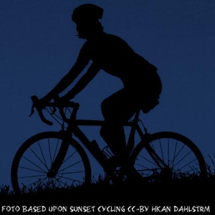 Piktogramm eines Fahrrad cc-by - Basiert auf dem Original - cc-by Håkan Dahlström - Sunset cycling