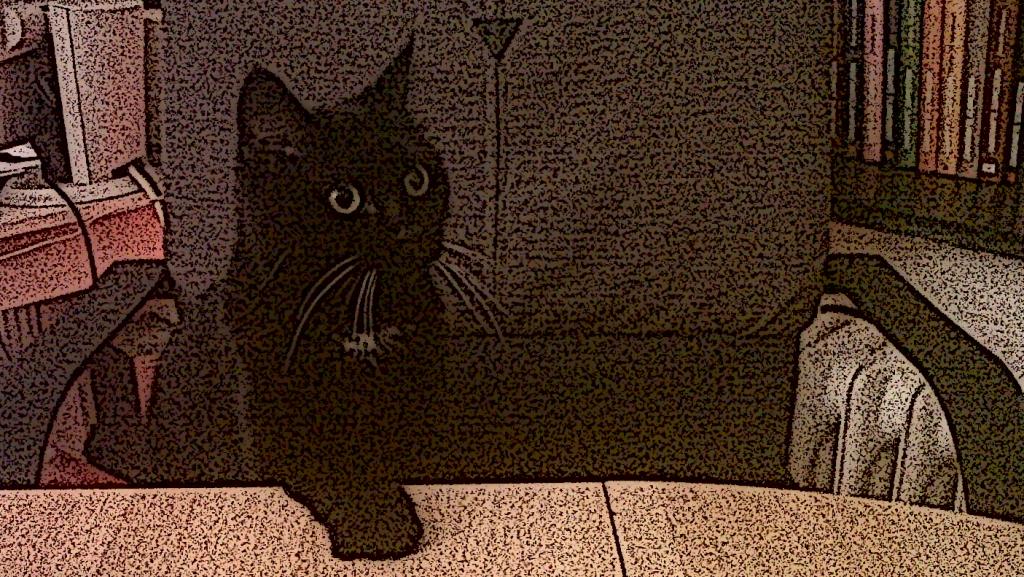 Im Bild zu sehen, Gregors Katze Morle in einer Comichaften darstellung wie sie mit der Pfote auf den Esstisch haut.